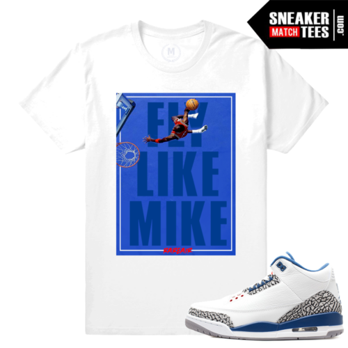 Jordan 3 True Blue Retros Matching Sneaker T shirts