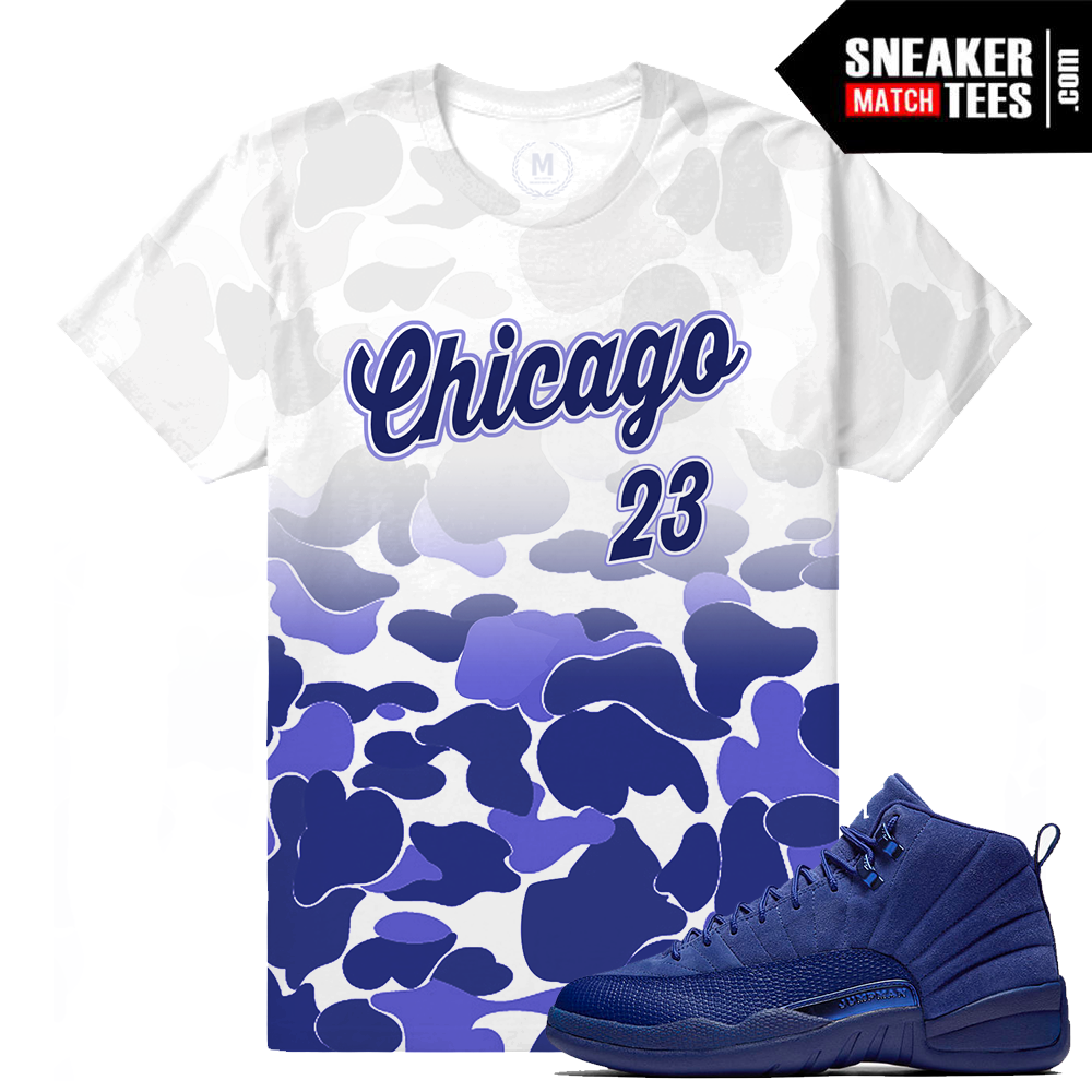 Match jordan 12 blue suede t shirt sneaker match tees for Jordan royal 1 shirt
