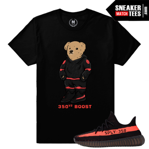 Match Yeezy Boost 350 Black Red Sneaker Shirt