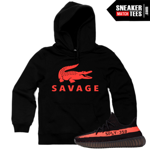 Sneaker Match Tees Yeezy Boost 350 Black Red