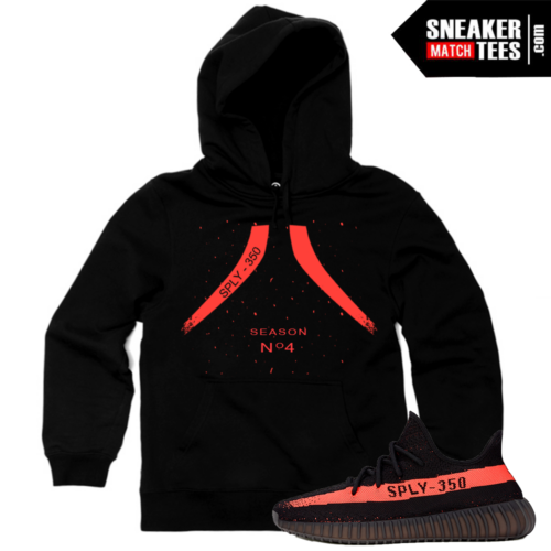 Yeezy Boost 350 Black Red Match Hoodie