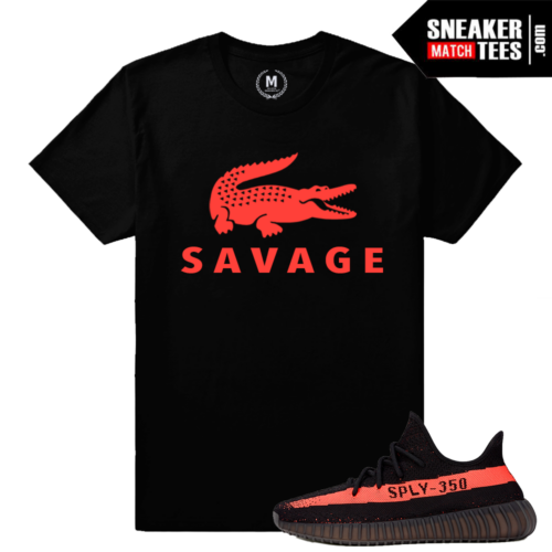 Yeezy Boost 350 Black Red Matching Sneaker Shirt