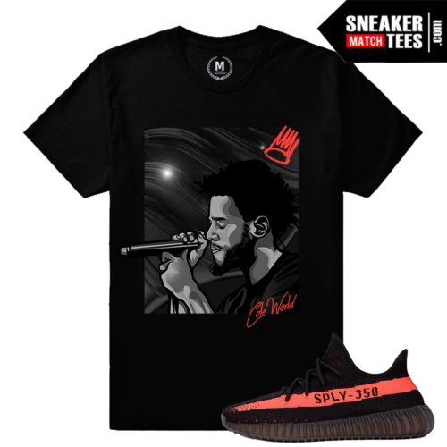 Yeezy Boost 350 black Red Matching Tee Shirt