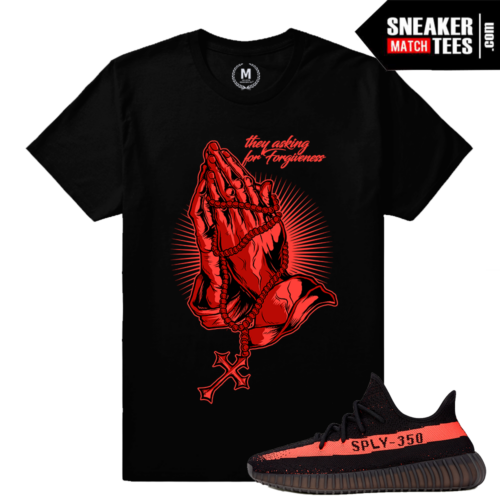 Yeezy Boost 350 Black Red T shirt Matching