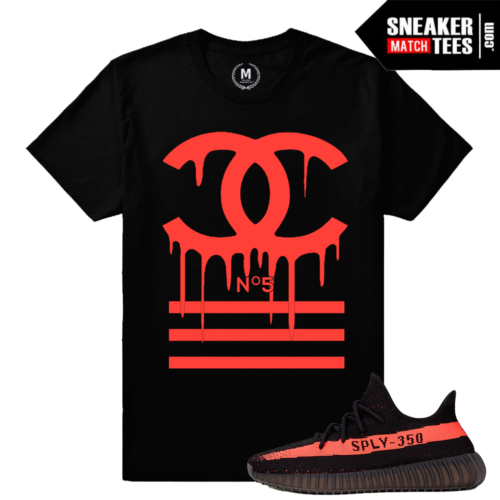Yeezy Boost 350 Matching Black Red T shirt