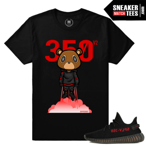 Yeezy Boost 350 Black Red Match T shirt