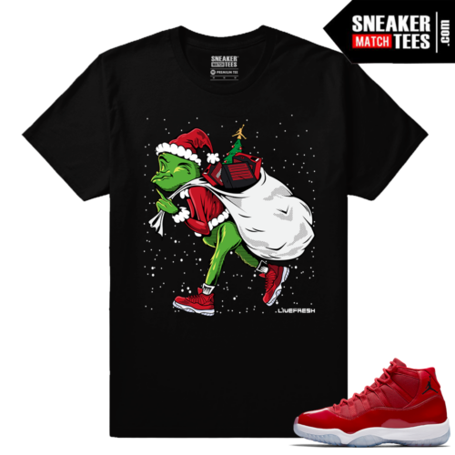 Jordan 11 Win Like 96 Gym Red Sneaker tees Black Sneakerhead Grinch