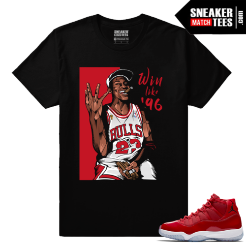 Jordan 11 Win Like 96 Gym Red Sneaker tees Black Win Like 96