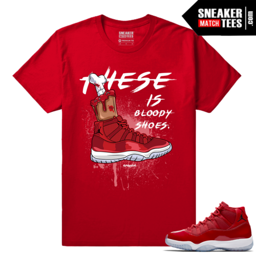 Jordan 11 Win Like 96 Gym Red Sneaker tees Red Bloody Shoes