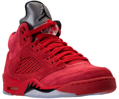 Jordan 5 Red Suede Side Angle