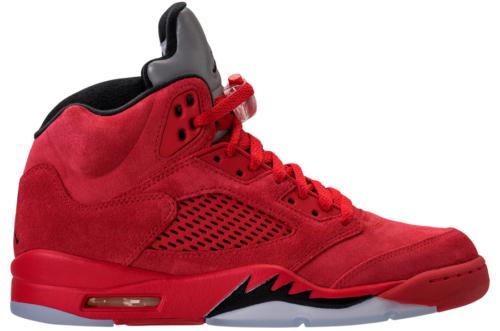 Jordan 5 Red Suede Side View
