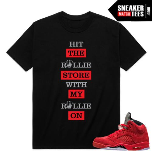 Air Jordan Retro 5 Red Sneaker shirt
