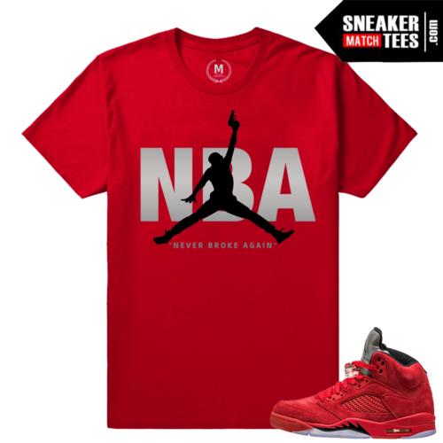 Jordan 5 Red Suede Matching Sneaker Tees Shirt