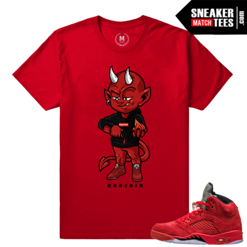 Jordans 5 Red Suede Sneaker tees Shirt