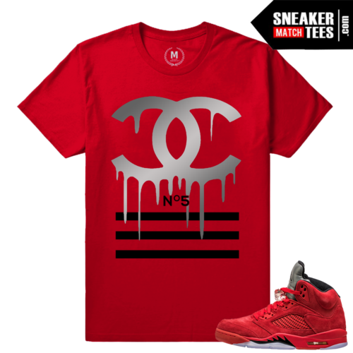 Jordans 5 shirts matching Red Suede 5s