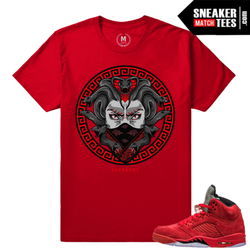 Red Jordan 5 shirts matching Red Suede 5s