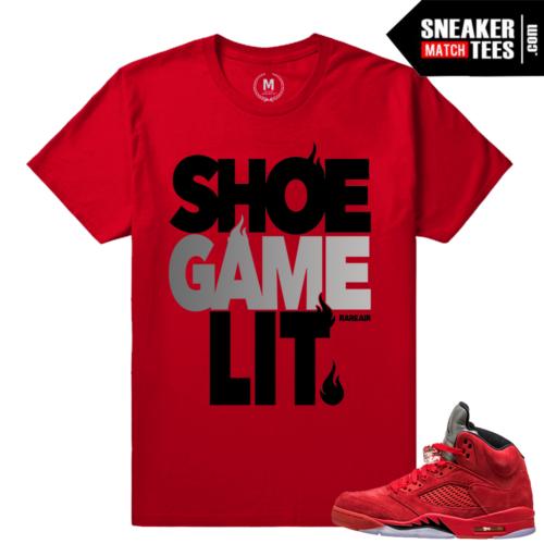 Red Jordans Shirts matching Jordan 5