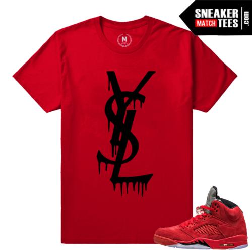 Red Jordans shirt matching Jordan Retro 5