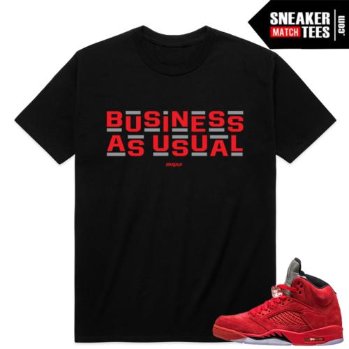 Red Suede 5 Retro Shirts Match