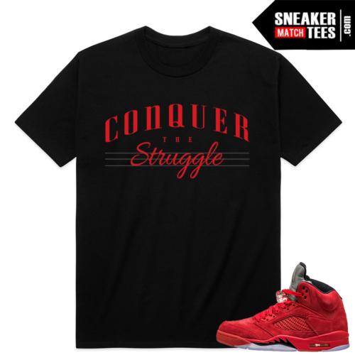 Retro 5 Jordan shirt match Red Suede