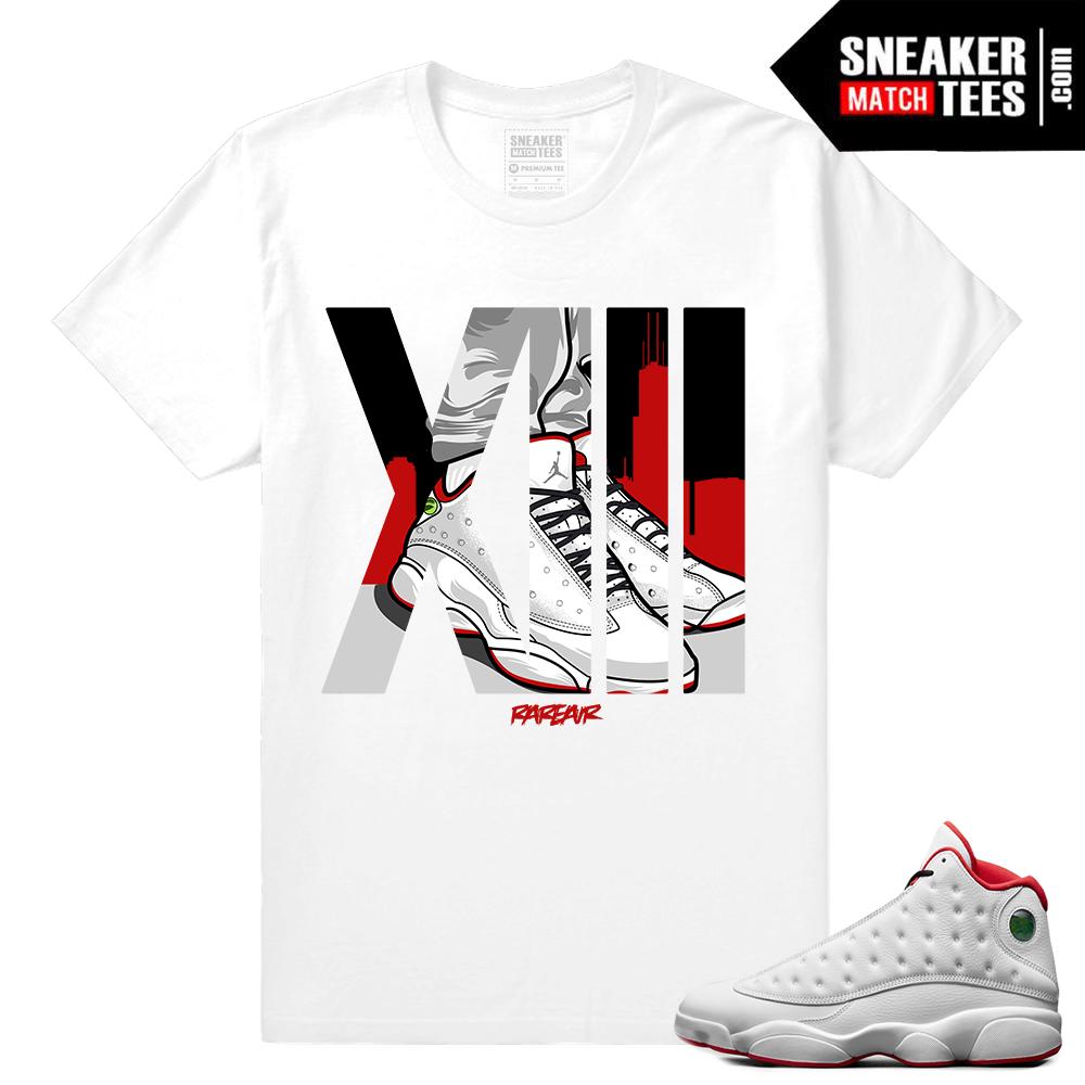 00da922a201 Jordan Retro 13 – History of Flight T shirt – Rare AIr XIII – White
