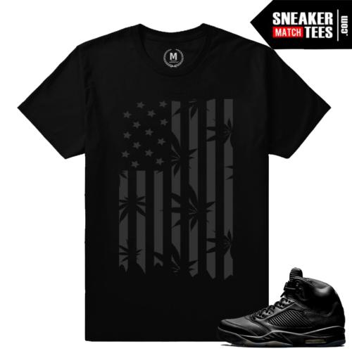 Retro 5 Jordans sneaker tees shirt Black 5s