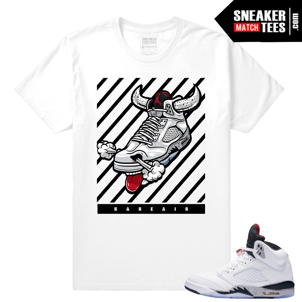 db279510bb20 Air Jordan Cement 5 – Match Fly Kicks Cement 5 shirt- White