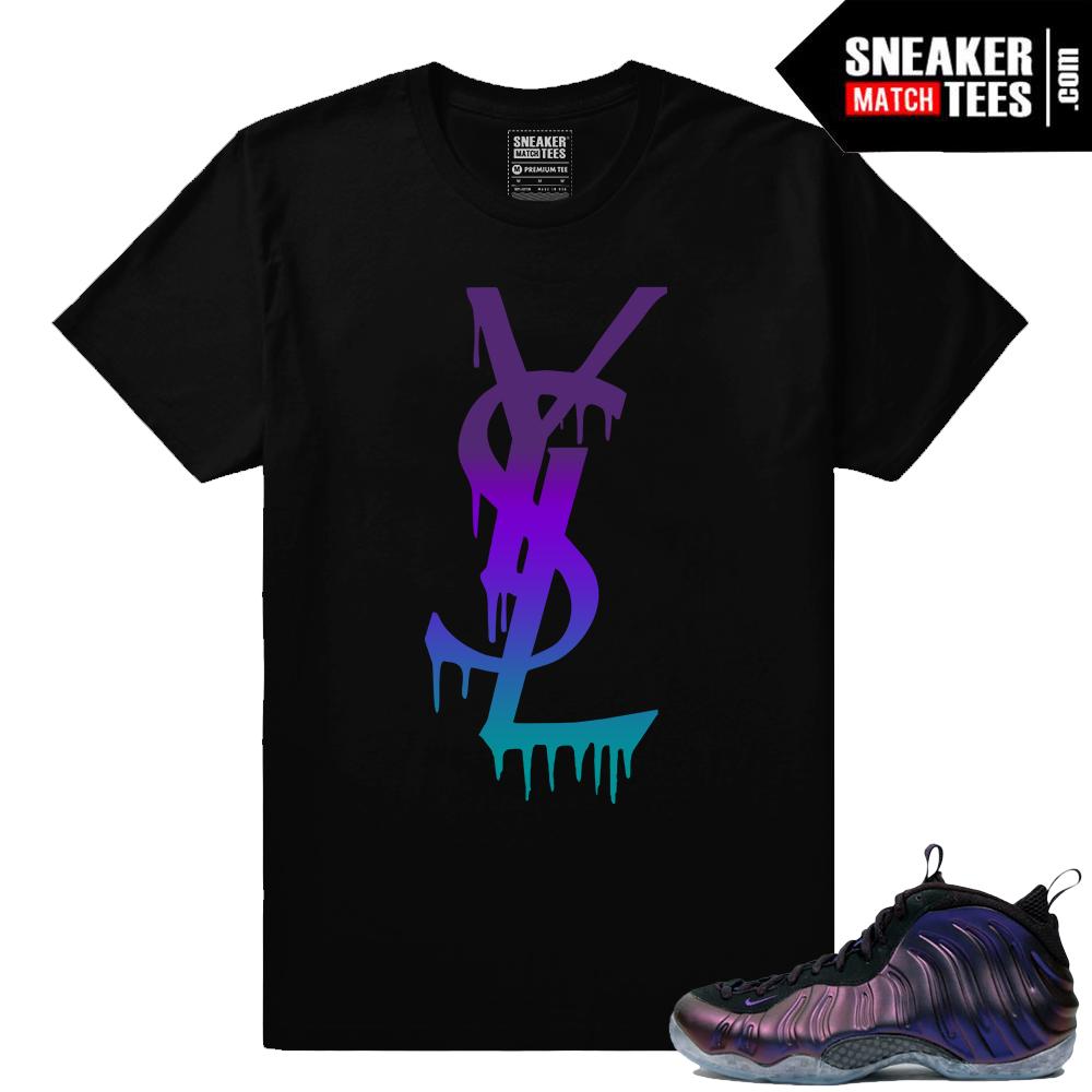 promo code d7aba a5096 Nike Foamposites – YSL Drip matching Eggplant t shirt – Black