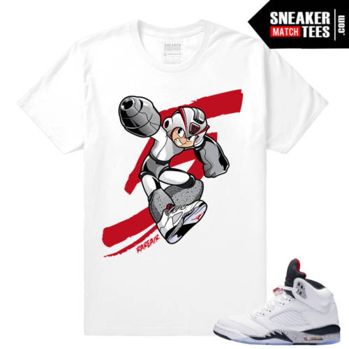 White Jordan 5 Cement t shirt