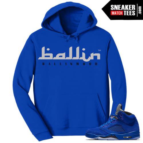 Blue Suede 5 Hoodie Match Sneakers