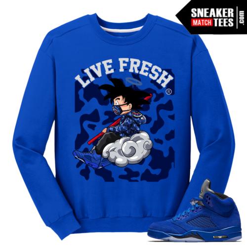 Goku Blue Suede 5s Crewneck Sweatshirt