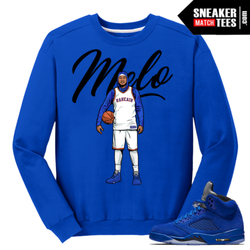 Hoodie Melo Crewneck Sweater Blue Suede 5s