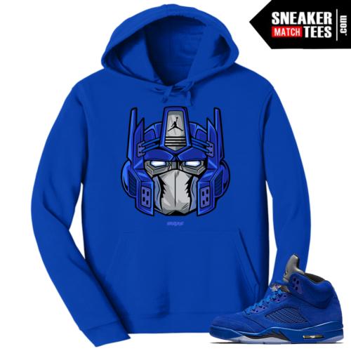 Jordan 5 Blue Suede Hoodie Optimus Prime