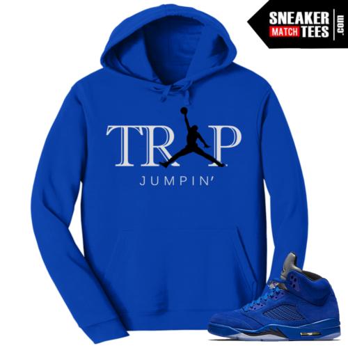 Jordan 5 Blue Suede Hoodie Trap Jumpin