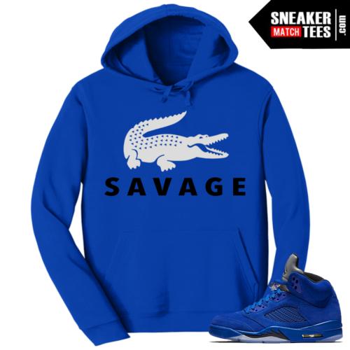 Jordan 5 Blue Suede Hoody Savage
