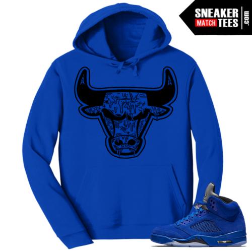 Jordan 5 Blue Suede Matching Hoodie