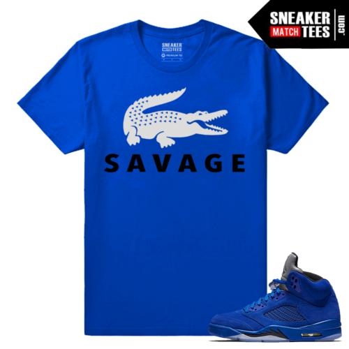 Jordan 5 Blue Suede Matching Sneaker tees