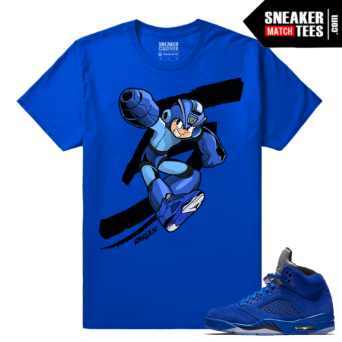 Jordan 5 Blue Suede Matching T shirt