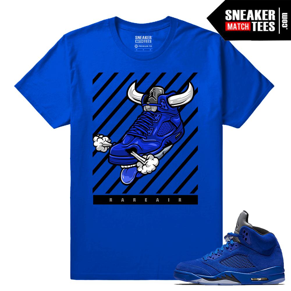 "9c38c897cc8 Jordan 5 Blue Suede Shirt ""Fly Kicks 5s"" T-Shirt Royal"