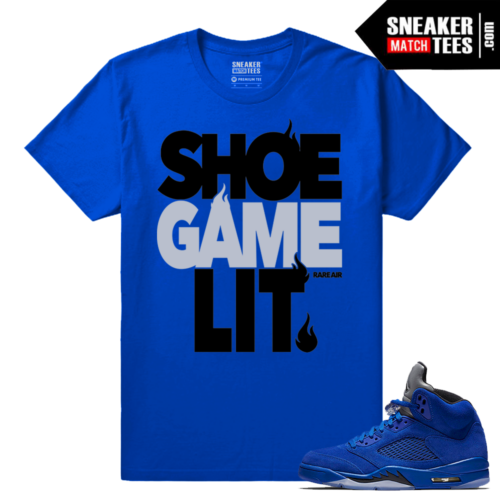 Jordan 5 Blue Suede Sneaker tees shirt
