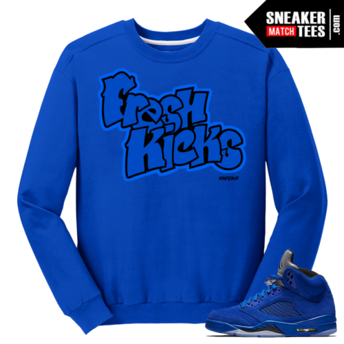 Jordan 5 Blue Suede Streetwear Crewneck