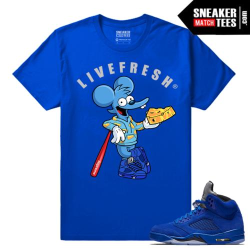 Jordan 5 Blue Suede Streetwear t shirt