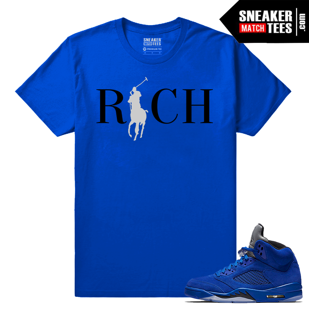 Jordan 5 clothing t shirt blue suede sneaker match tees for Jordan royal 1 shirt