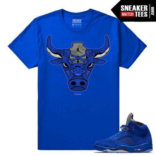 Jordan 5 Streetwear Shirt Blue Suede