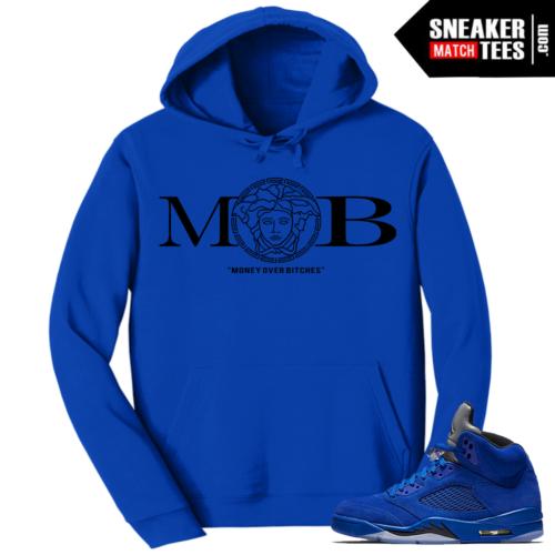Jordan Retro 5 Blue Suede Hoodie MOB