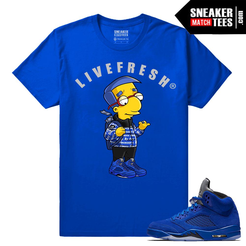 Jordan Retro 5 Blue Suede Shirt