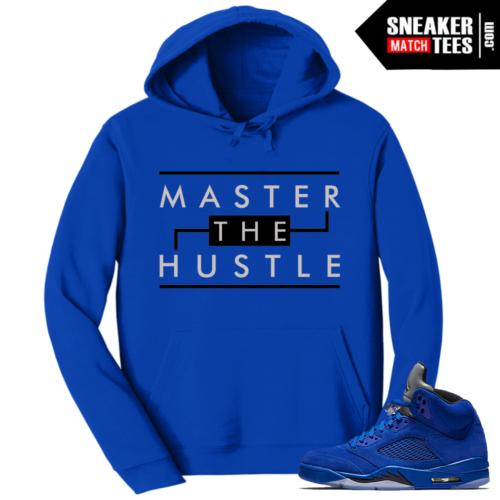 Jordan Retro 5 Hoodie Blue Suede