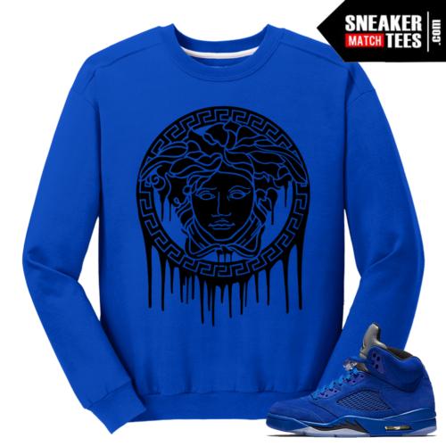 Medusa Drip Matching Blue Suede 5s Crewneck