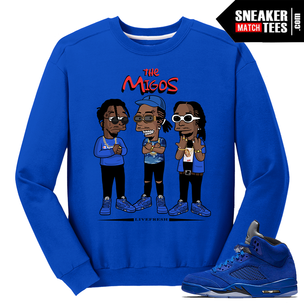 Migos crewneck sweater blue suede 5s sneaker match tees for T shirt by migos