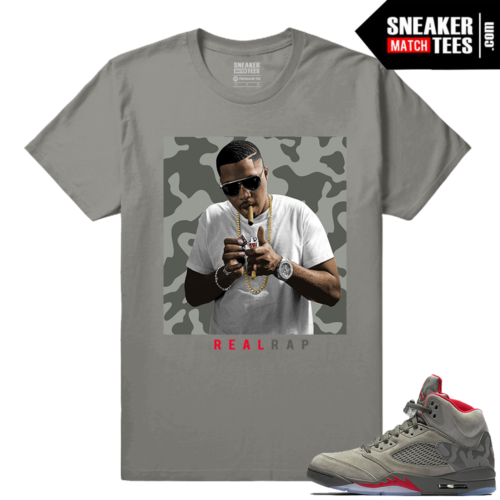 Nas Real Rap T shirt Camo Jordans 5